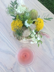 Some of the beautiful flowers and a slight bit of rosé to enjoy!