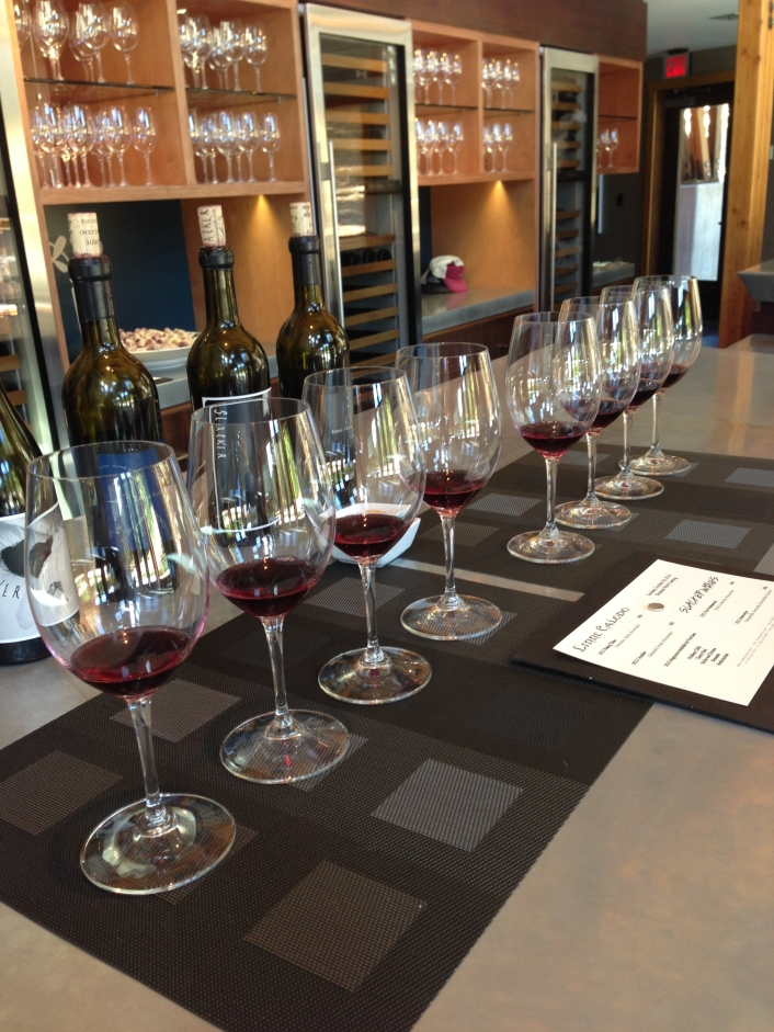 Loved the bar in the tasting room and all the glasses lined up with the samples poured for the comparison tasting and opening! http://www.linnecalodo.com/