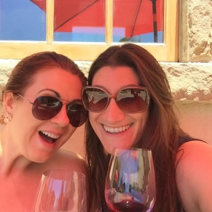 A rare picture of me and my friend during our wine adventure