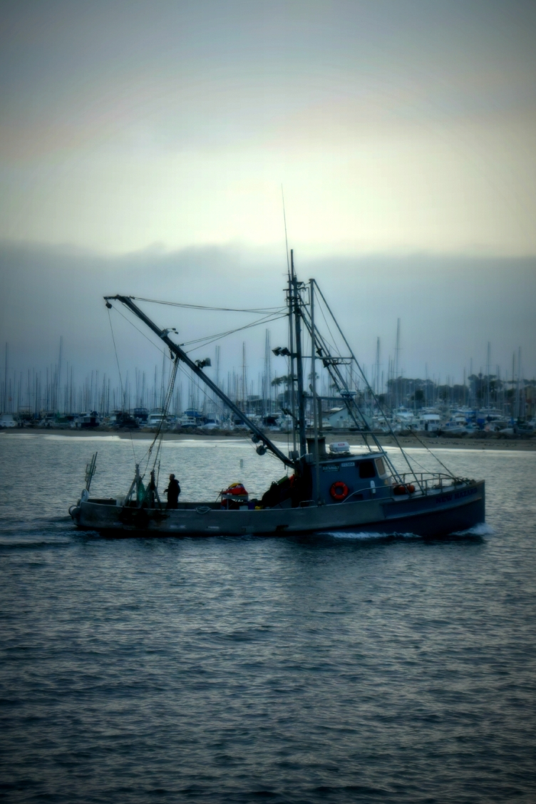 Santa Barbara Fishing Boat at Sunset