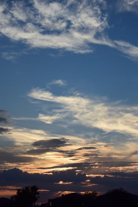 Desert Sunset through the Clouds