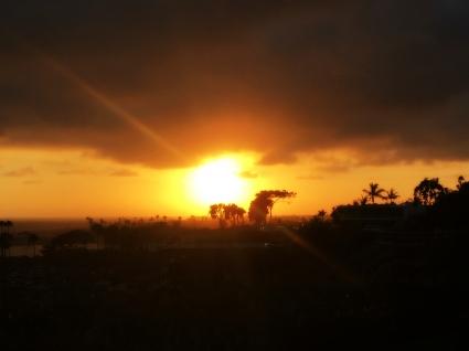 Sun flare during sunset in Corona del Mar