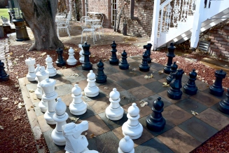 Life size chess at Union Hotel - Los Alamos